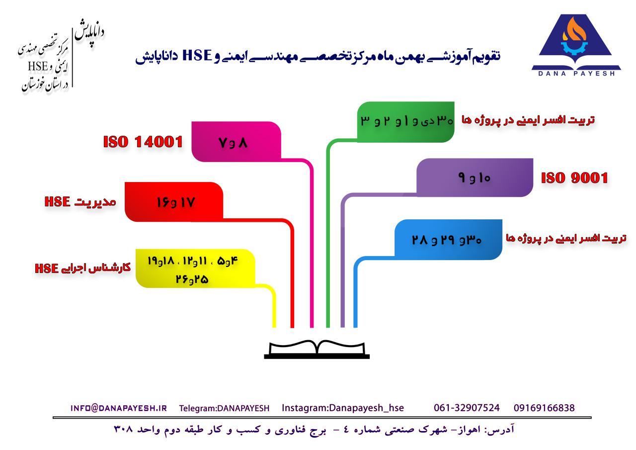 تقویم آموزشی HSE بهمن ماه 97